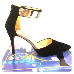 Shoes - Worn once! Black heels with gold ankle strap.